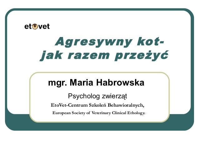 Agresywny kot- jak razem przeżyć mgr. Maria Habrowska Psycholog zwierząt EtoVet-Centrum Szkoleń Behawioralnych, European S...
