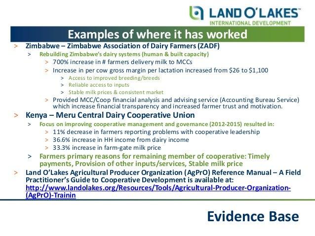 Evidence Base Examples of where it has worked ˃ Zimbabwe – Zimbabwe Association of Dairy Farmers (ZADF) ˃ Rebuilding Zimba...