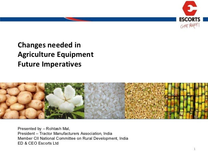 Changes needed in  Agriculture Equipment  Future Imperatives  Presented by – Rohtash Mal, President – Tractor Manufacturer...