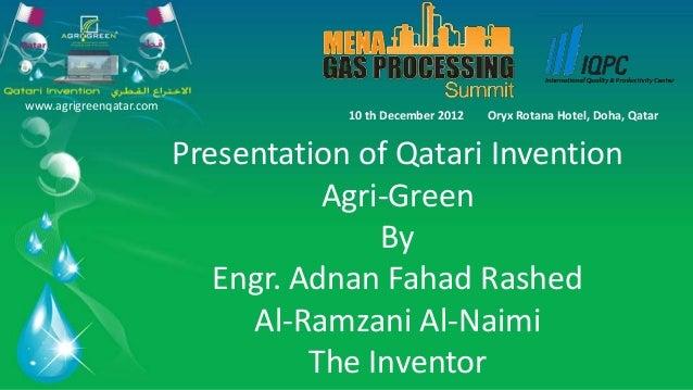 www.agrigreenqatar.com                                     10 th December 2012   Oryx Rotana Hotel, Doha, Qatar           ...