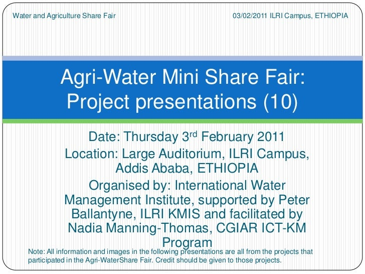 Agri-water Share Fair Projects' Presentations