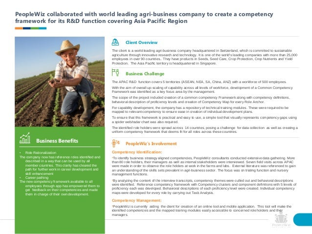 PeopleWiz collaborated with world leading agri-business company to create a competency framework for its R&D function cove...