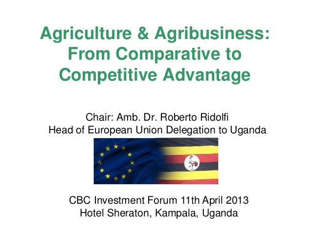 Agriculture & Agribusiness: From Comparative to Competitive Advantage Chair: Amb. Dr. Roberto Ridolfi Head of European Uni...