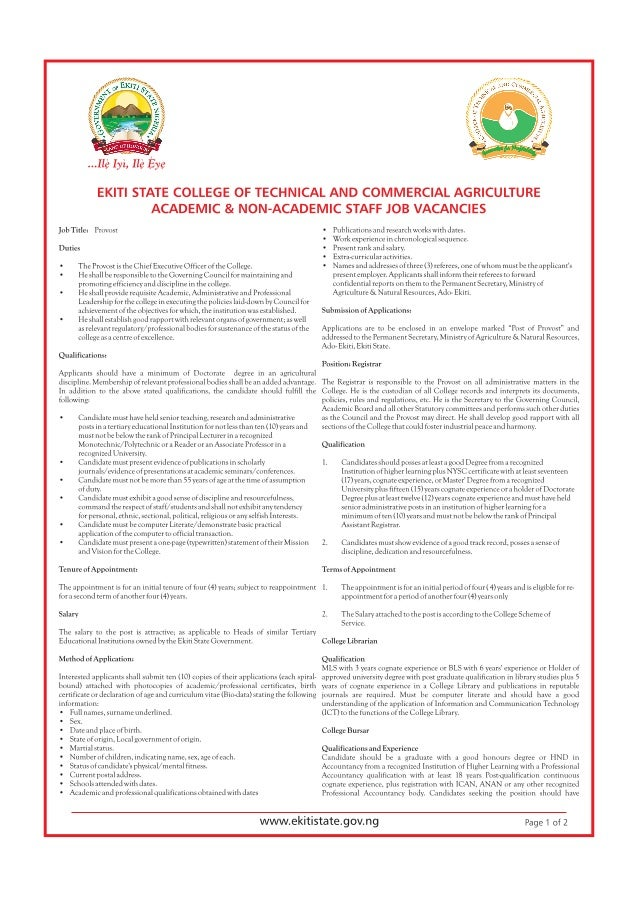 Ekiti State College of Technical and Commercial Agriculture Academic & Non-Academic Staff Job Vacancies