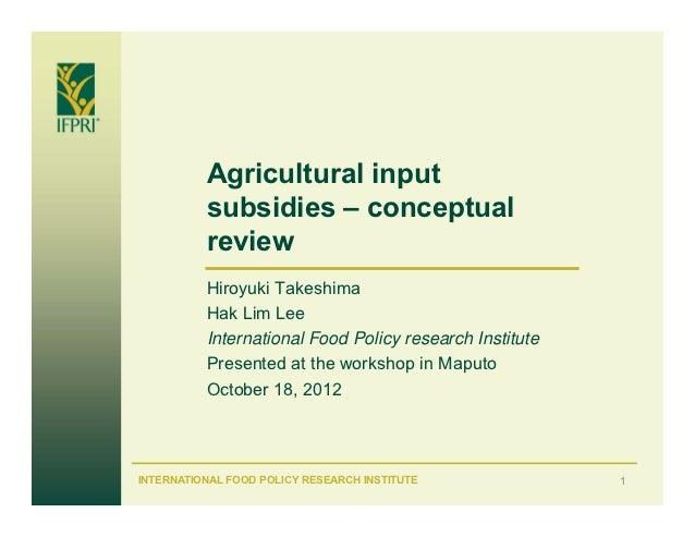 Agricultural input          subsidies – conceptual          review          Hiroyuki Takeshima          Hak Lim Lee       ...