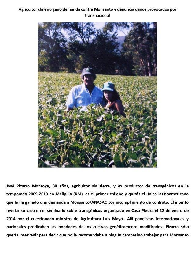 Agricultor chileno ganó demanda contra Monsanto y denuncia daños provocados por transnacional  José Pizarro Montoya, 38 añ...