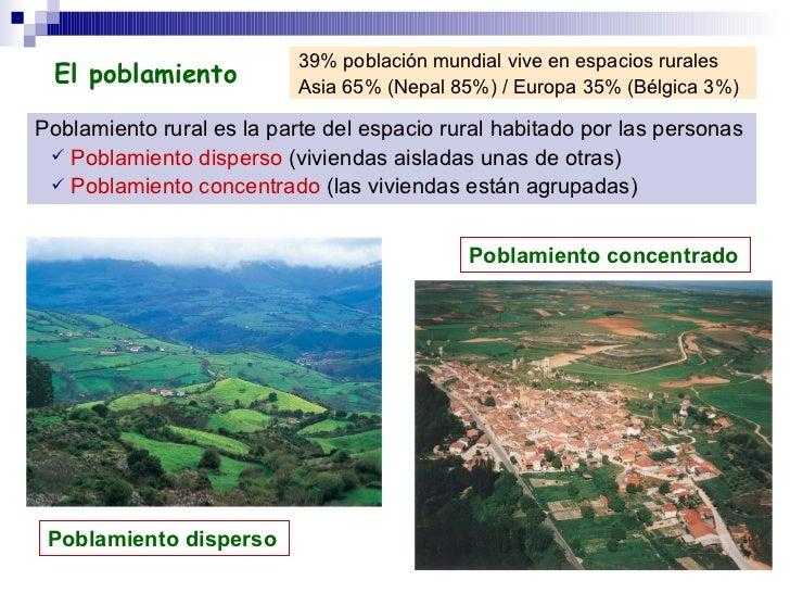 <ul><li>Poblamiento rural es la parte del espacio rural habitado por las personas   </li></ul><ul><ul><li>Poblamiento disp...