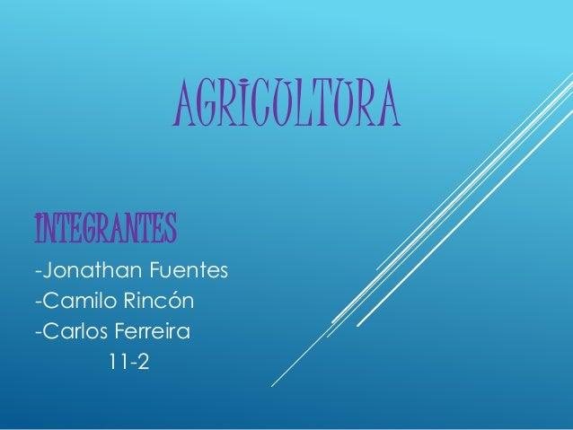 AGRICULTURA INTEGRANTES -Jonathan Fuentes -Camilo Rincón -Carlos Ferreira 11-2