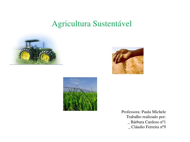 Agricultura Sustentável<br />Professora: Paula Michele<br />Trabalho realizado por:<br />_ Bárbara Cardoso nº1<br />_ Cláu...