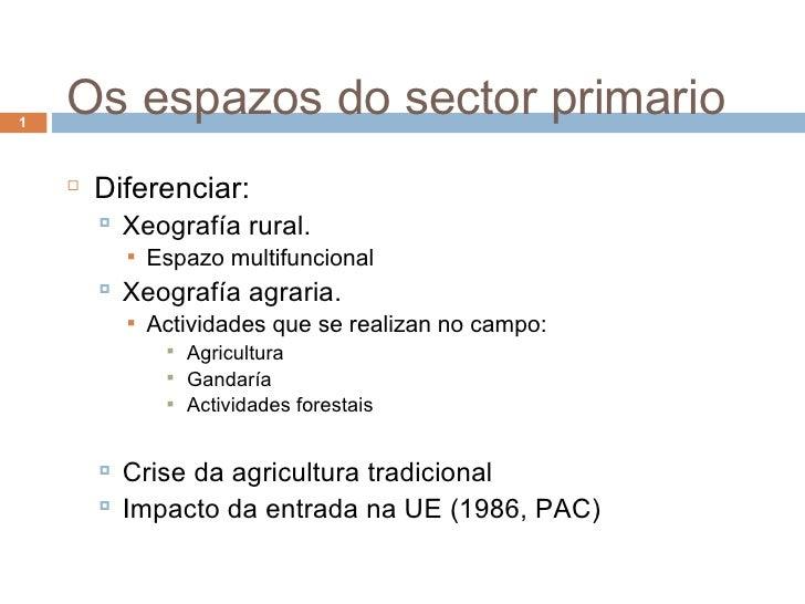 Os espazos do sector primario <ul><li>Diferenciar: </li></ul><ul><ul><li>Xeografía rural. </li></ul></ul><ul><ul><ul><li>E...