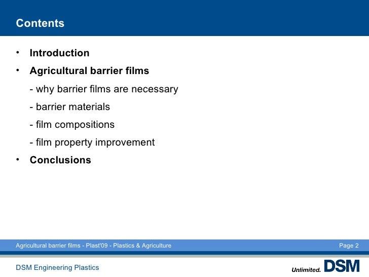 Agricultural barrier films Plast09 Slide 2