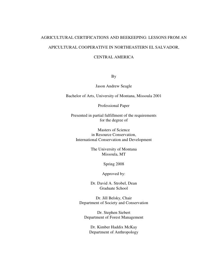 AGRICULTURAL CERTIFICATIONS AND BEEKEEPING: LESSONS FROM AN     APICULTURAL COOPERATIVE IN NORTHEASTERN EL SALVADOR,      ...