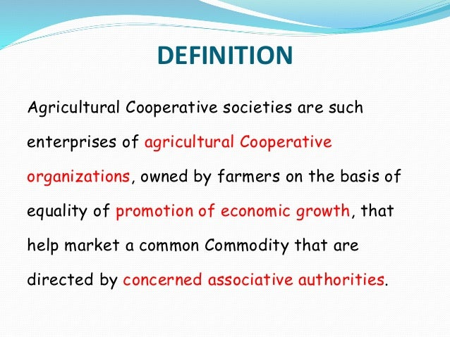 Agricultural co operative societies by Mr. Subramanian S