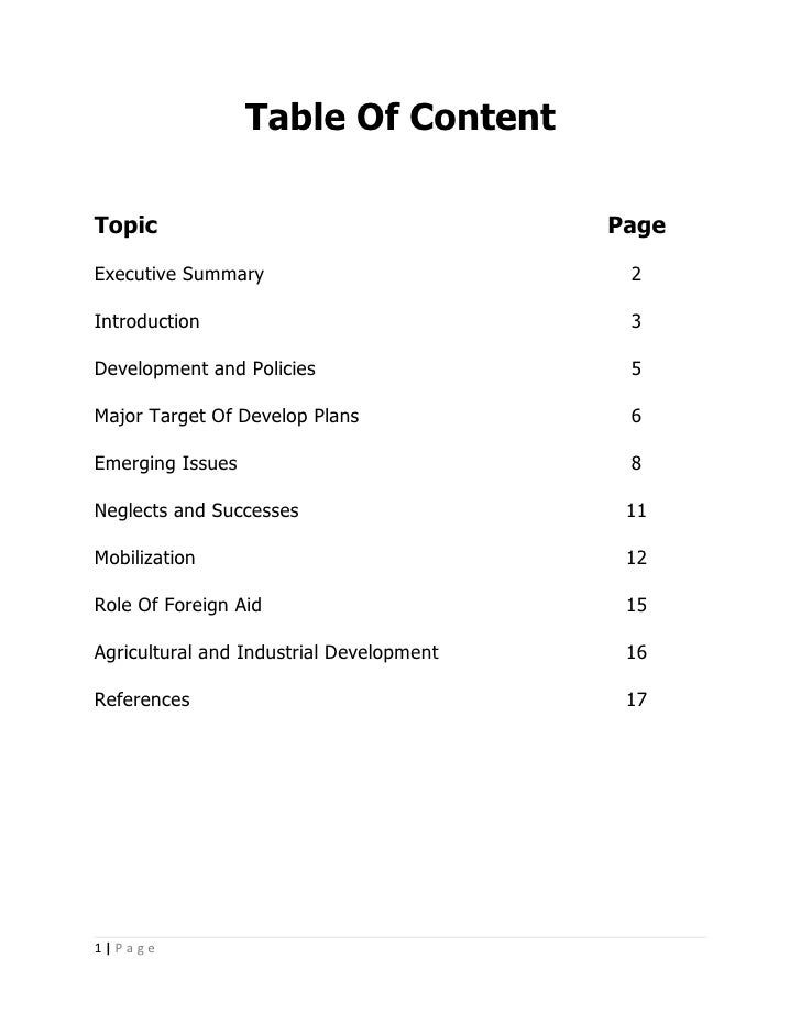 Table Of Content  Topic                                     Page Executive Summary                          2  Introductio...
