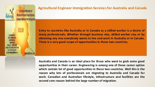 Agricultural Engineer Immigration Services for Australia and Canada  Entry to countries like Australia or in Canada as a s...