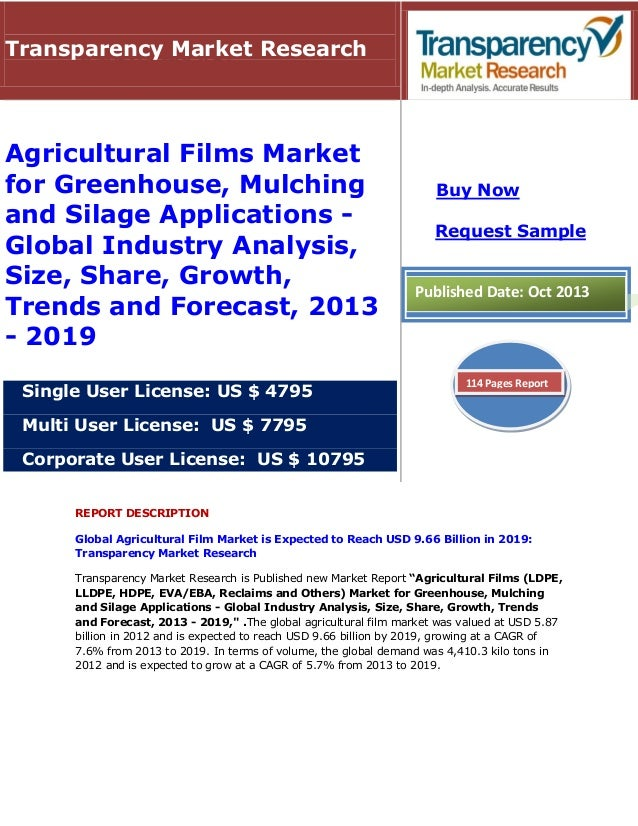 Transparency Market Research  Agricultural Films Market for Greenhouse, Mulching and Silage Applications Global Industry A...