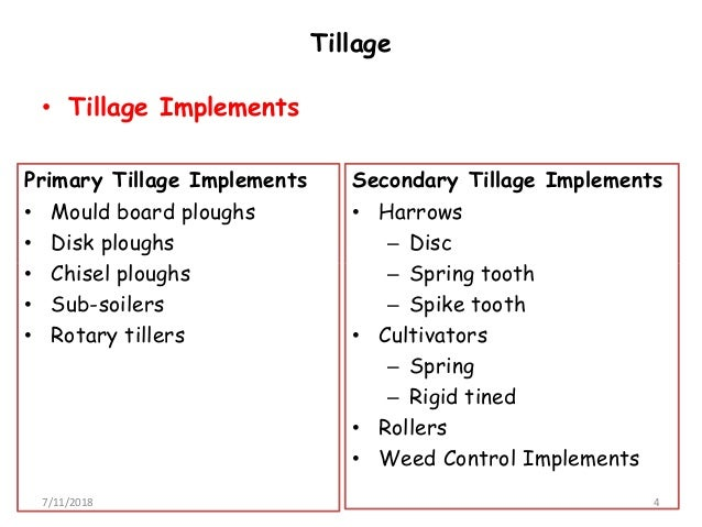 Agricultural machinery chapter 2 tillage implement