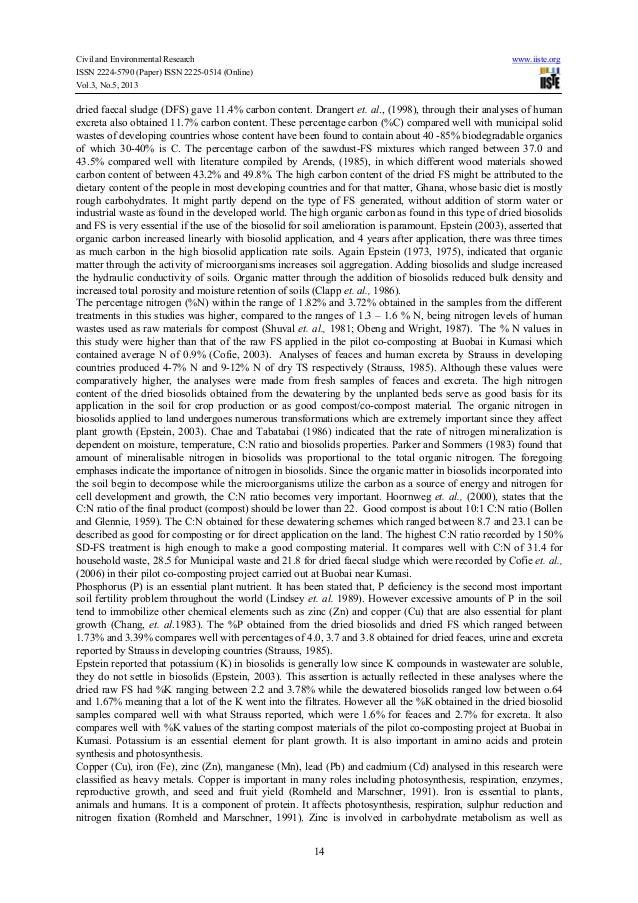 Civil and Environmental Research www.iiste.orgISSN 2224-5790 (Paper) ISSN 2225-0514 (Online)Vol.3, No.5, 201314dried faeca...