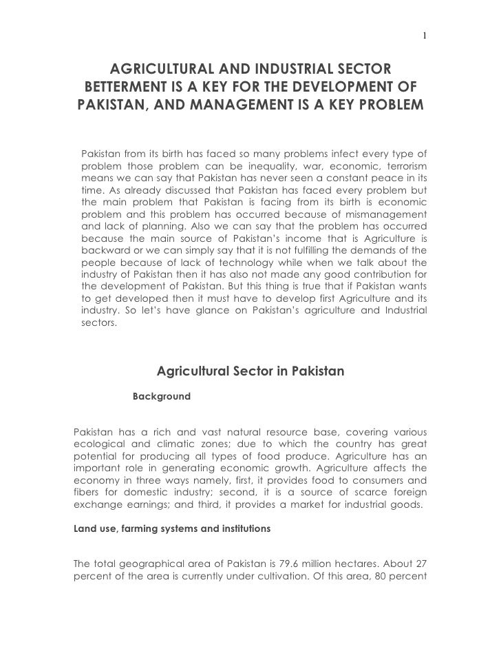 agricultural sector in  1 agricultural and industrial sector betterment is a key for the development of and management