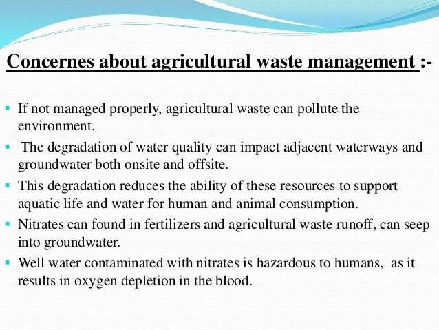 types of agricultural waste in india