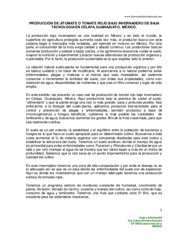 www.biorremediaciondesuelo.com Calle La Peñita 205 Col. Calesa Primera Sección CP 76020, Queretaro, Qro. MEXICO 1 PRODUCCI...