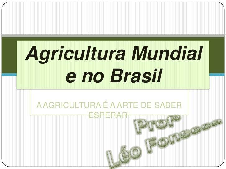 Agricultura Mundial    e no Brasil A AGRICULTURA É A ARTE DE SABER            ESPERAR!