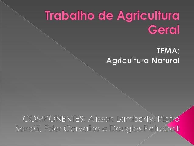 Agricultura é a arte ou processo de usar o solo para cultivar plantas com o objetivo de obter alimentos, fibras, energia e...