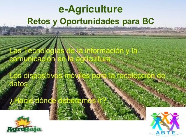 e-Agriculture        Retos y Oportunidades para BCLas Tecnologías de la información y lacomunicación en la agriculturaLos ...