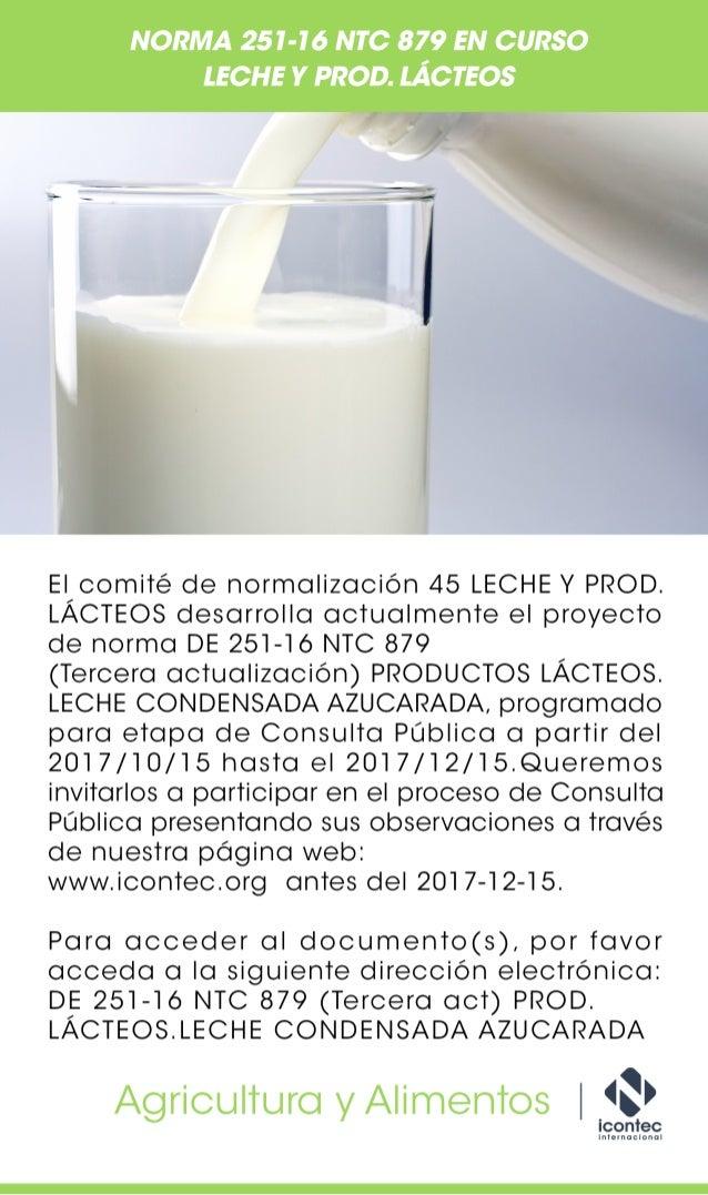 Norma 251-16 NTC 879 en curso leche y prod. Lácteos