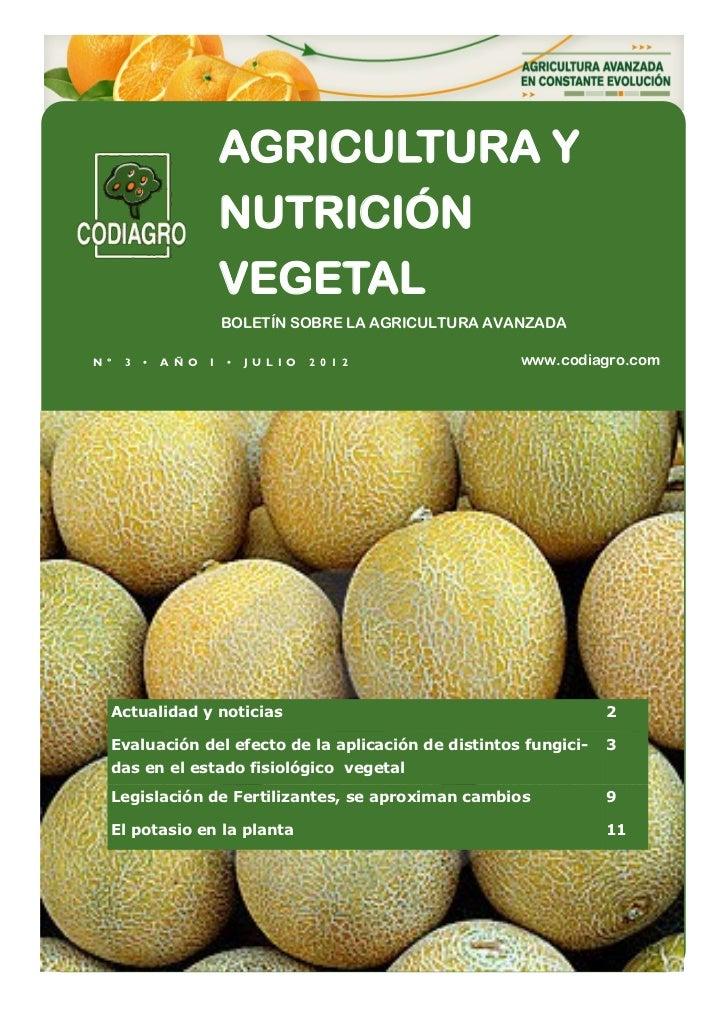 AGRICULTURA Y                          NUTRICIÓN                          VEGETAL                          BOLETÍN SOBRE L...