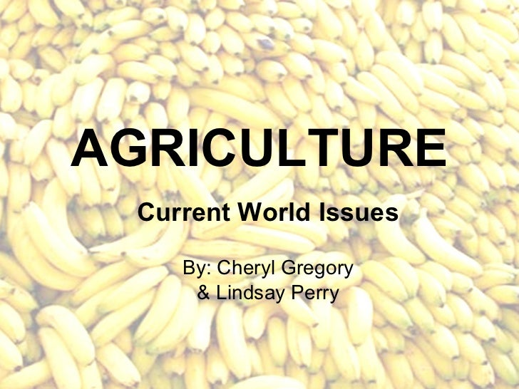 AGRICULTURE Current World Issues    By: Cheryl Gregory     & Lindsay Perry