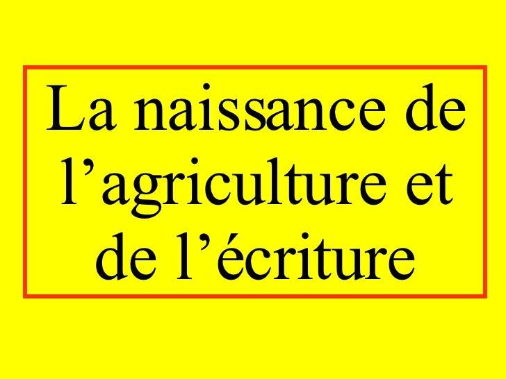 La naissance de l'agriculture et de l'écriture