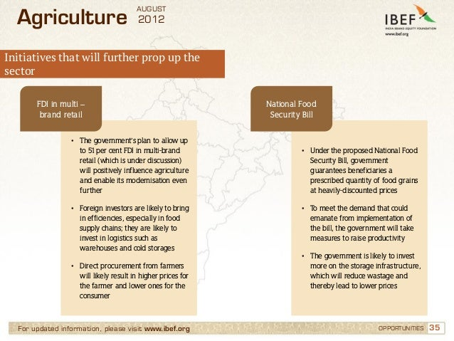 AUGUST  Agriculture                           2012Initiatives that will further prop up thesector       FDI in multi –    ...