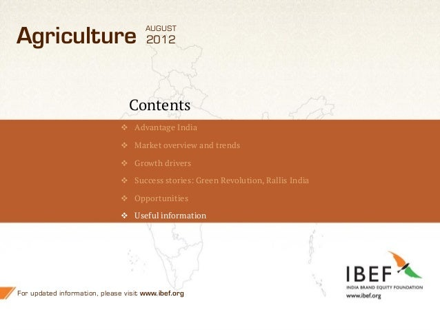 AUGUSTAgriculture                           2012                                 Contents                                ...