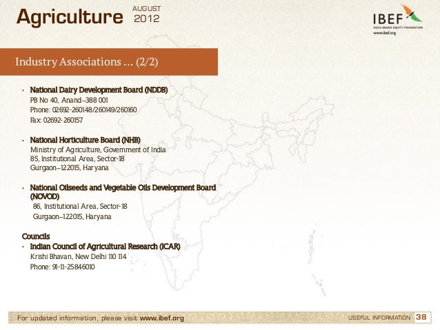 AUGUSTAgriculture                           2012Industry Associations … (2/2) •   National Dairy Development Board (NDDB) ...