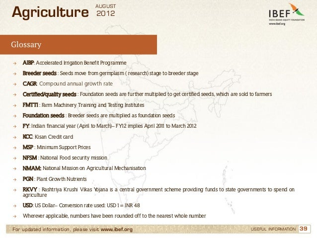 AUGUSTAgriculture                           2012Glossary→   AIBP: Accelerated Irrigation Benefit Programme→   Breeder seed...