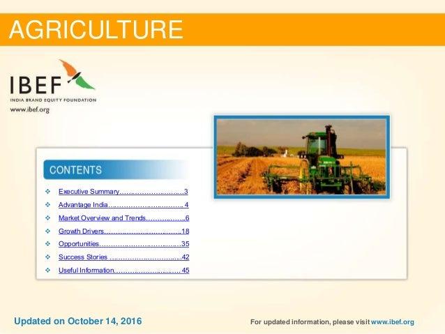 Agriculture Sectoral Report - October 2016 Slide 2