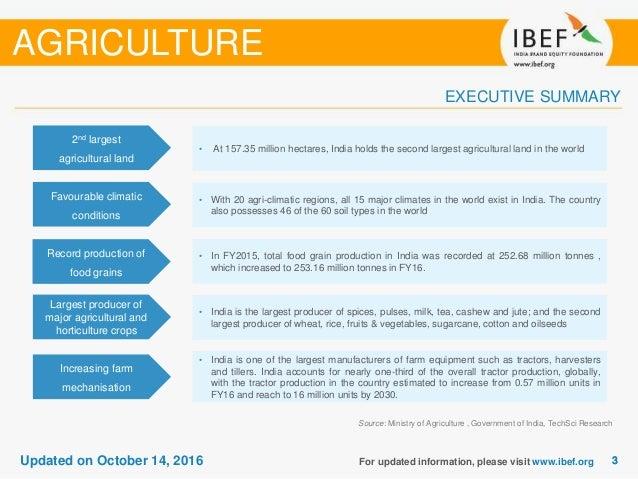 Agriculture Sectoral Report - October 2016 Slide 3