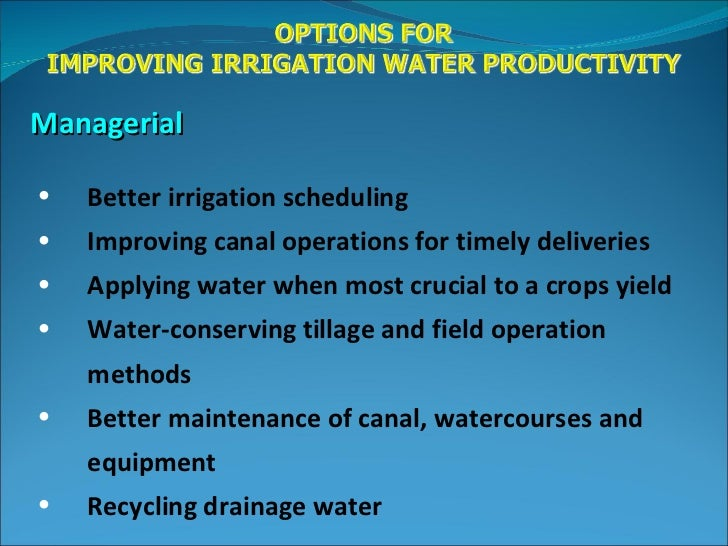 Water issues in agriculture