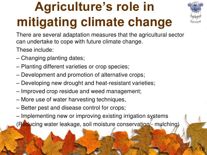 agriculture and climatic conditions This report, the first in a series of environmental impact reports, will explore anticipated effects of climate change on us agriculture other reports in this series will assess what is known about the impact of climate change on weather and include analyses of its impact on water resources, coastal areas, human health, ecosystems, and forests.