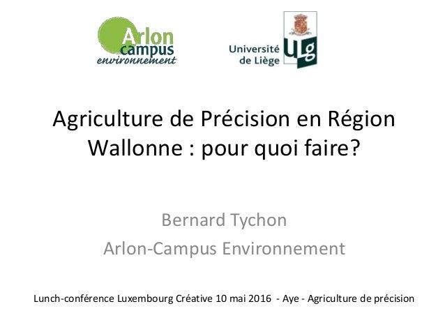 Agriculture de Précision en Région Wallonne : pour quoi faire? Bernard Tychon Arlon-Campus Environnement Lunch-conférence ...