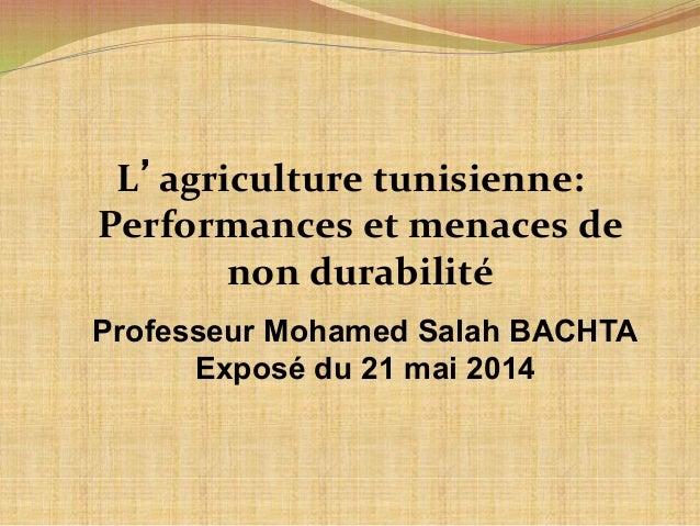 L'agriculture  tunisienne:  Performances  et  menaces  de  non  durabilité  Professeur Mohamed Salah BACHTA  Exposé du 21 ...
