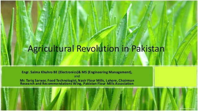 Agricultural Revolution in Pakistan Engr. Saima Khuhro BE (Electronics)& MS (Engineering Management), and Mr. Tariq Sarwar...