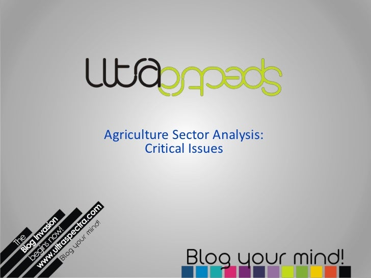 Agriculture Sector Analysis:       Critical Issues