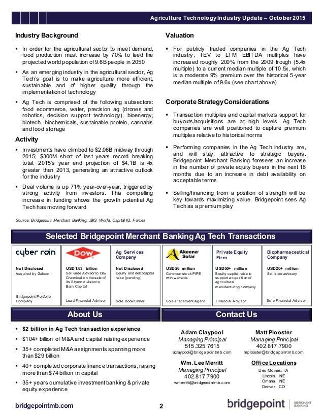 Agriculture Technology Industry Update, October 2015 Slide 2