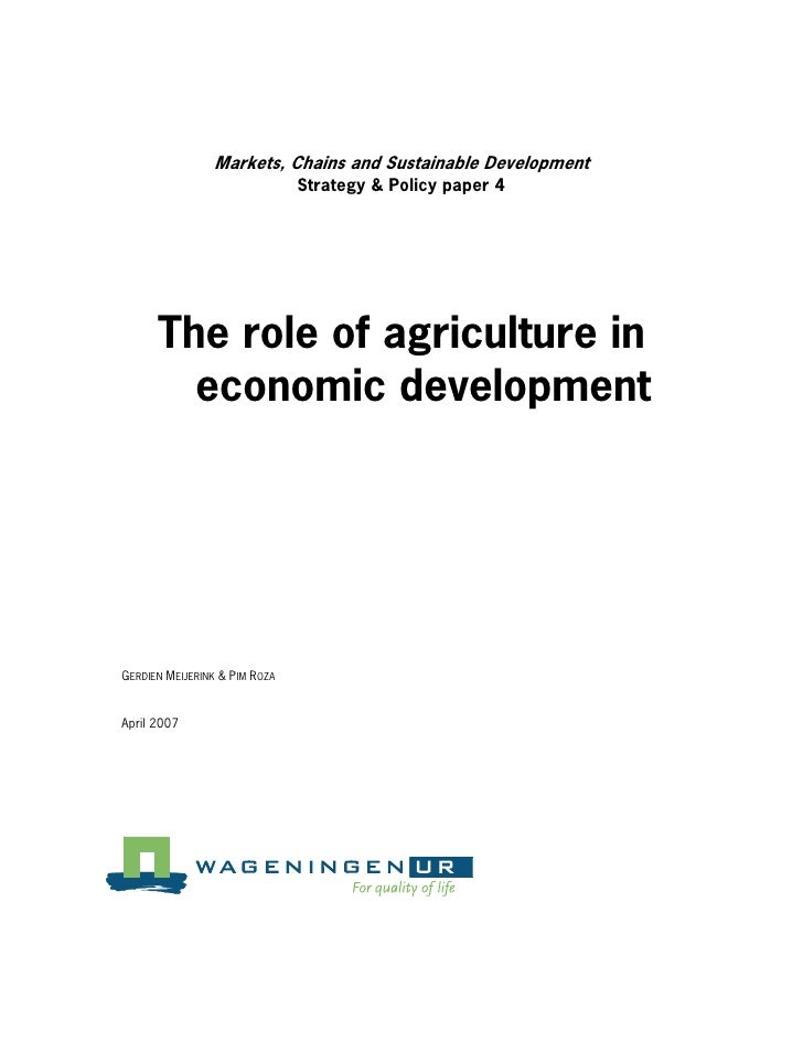 What Is the Role of Agriculture in Economic Development?