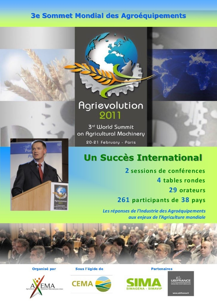 3e Sommet Mondial des Agroéquipements                   Un Succès International                                     2 sess...