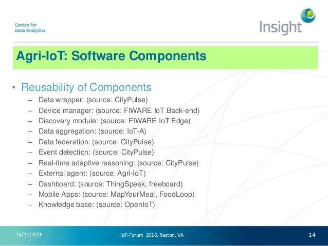 Agri-IoT: Software Components 14/12/2016 14 • Reusability of Components – Data wrapper: (source: CityPulse) – Device manag...