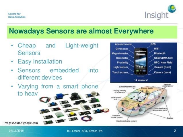 Nowadays Sensors are almost Everywhere 14/12/2016 • Cheap and Light-weight Sensors • Easy Installation • Sensors embedded ...