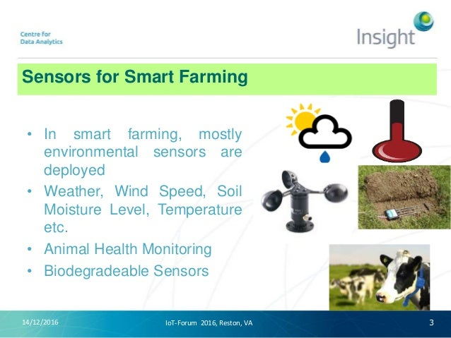 Sensors for Smart Farming 14/12/2016 • In smart farming, mostly environmental sensors are deployed • Weather, Wind Speed, ...